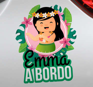 Decorative baby on board car sticker designed with a baby princess on colorful floral background. It is easy to apply and self adhesive.