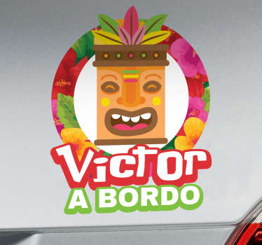 Baby on board car sticker with the design of a Tiki customisable in any name of choice. It is easy to apply and self adhesive.
