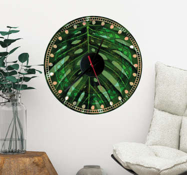 Reloj decorativo pared en adhesivo con un estampado de hoja tropical monstera deliciosa o costilla de Adán Sticker fácil de instalar