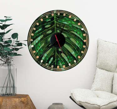 Naklejka-zegar w tropikalne liście