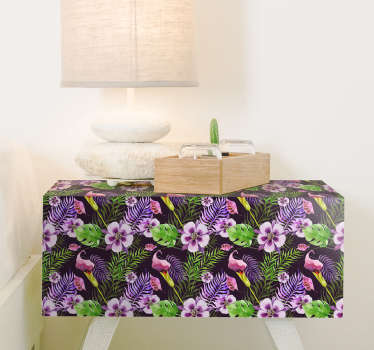 Decorative tropical plant with flower furniture sticker to decorate the furniture in the home . It is available;e in any required size.
