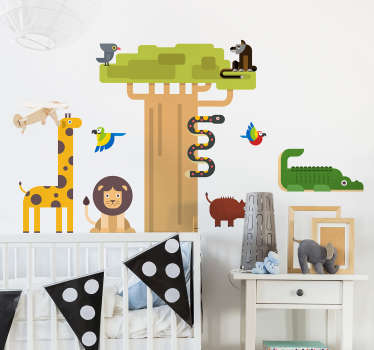 An illustrative wall sticker for children bedroom  with the design of different jungle animals. It is easy to apply and self adhesive.