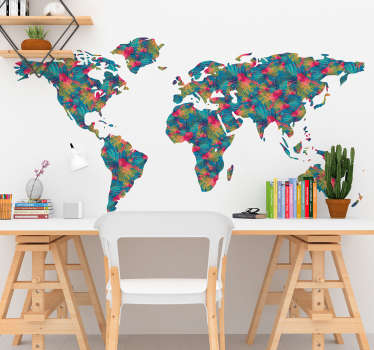 World map wall sticker with a colourful jungle style design, perfect for decorating the living room or bedroom. This floral pattern shows the world and its continents, the ideal decoration to add some colour to the walls of your home.
