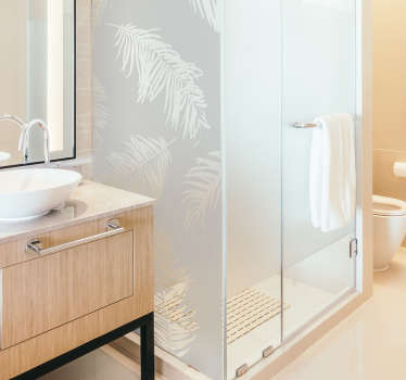 A shower screen sticker with the design of rain forest plant silhouette. It is available in any required size and easy to apply.