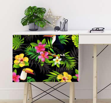 Naklejka na meble tropikalne kwiaty i tukany