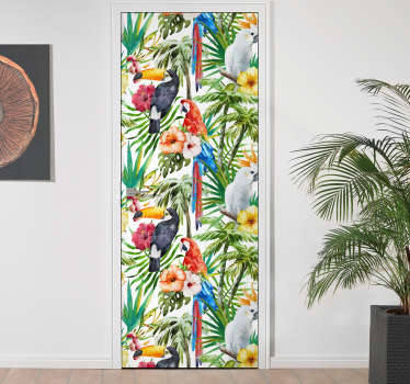 Decorative door vinyl sticker designed with colorful print of jungle birds and flowers. It is customisable in any required size.