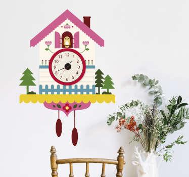 Adesivo murale orologio cucù con uccellino