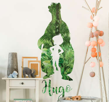 Here in this example we have a customizable jungle boy wall sticker. The name can be customized so your child will feel like a real jungle man!