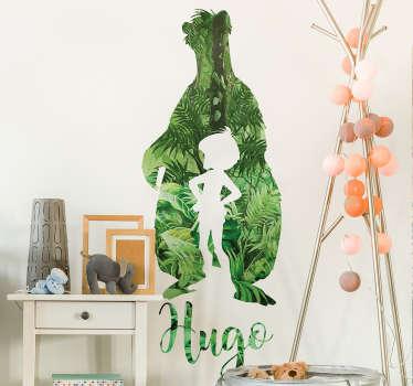Sticker bambino libro giungla personalizzabile