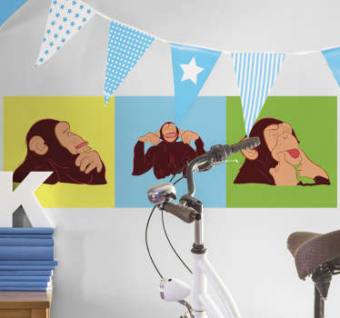 Muursticker apen popart