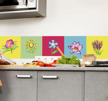Decorative vinyl tile sticker with design of colorful flower plants for kitchen and bathroom tiles space. It is easy to apply and adhesive.