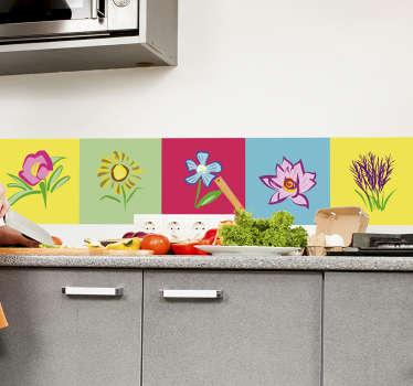Azulejos vinílicos de flores multicolor diseño de plantas de flores coloridas para el espacio de azulejos de cocina y baño ¡Envío a domicilio!