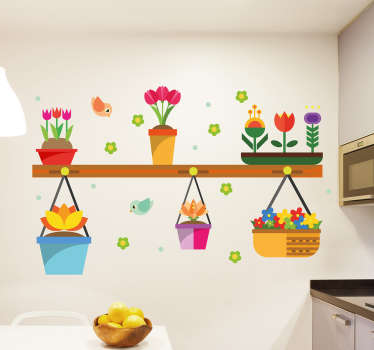 Decorative home wall sticker designed with colorful flowers in flower pots. It is easy to apply and available in any required size.