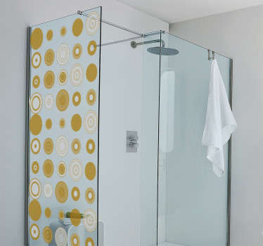 Decorative bathroom shower screen sticker with the design of colorful spheres. Available in any required dimension and easy to apply.