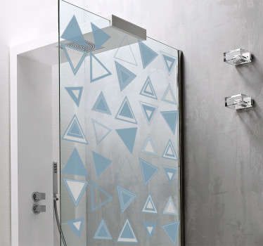 Shower screen sticker with a minimalist design of many different triangles in different positions that will fit great in your shower screen.
