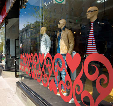 An original heart pattern design to decorate your shop front window. A lovely design from our collection of heart stickers.