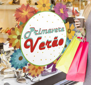 Vinil para montras inspirado na época da Primavera e Verão para atrair mais clientes e os seus habituais com este autocolante decorativo.