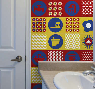 Bathroom tile vinyl wallpaper decal with prints of toilet objects. Decorate the bathroom space with this colorful brilliant decoration.