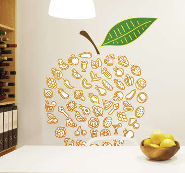 Decorate your rooms with this wall decal of an apple made of different types of food. This colorful piece of art will brighten up the room and give a positive feeling to everyone in it.