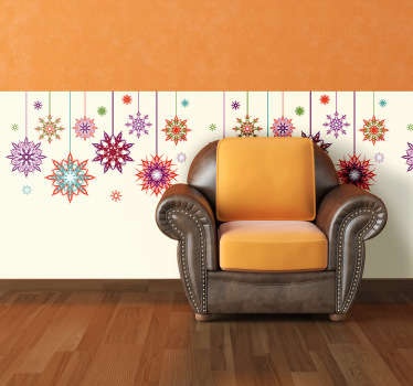 Christmas Snow Flake Wall Decor - The colourful Christmas stars wall sticker is a great design to decorate your home with during the Christmas period.