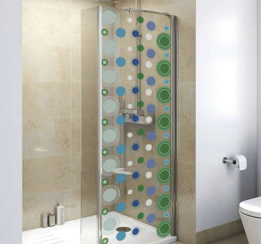 A bathroom shower screen sticker designed with geometric circles. It is easy to apply and self adhesive. We have it in any required dimension.