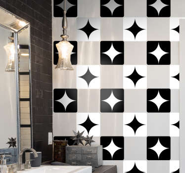 An adhesive black and white tile decal to decorate the kitchen or bathroom wall space. Easy to apply and waterproof. Choose it in any required option.