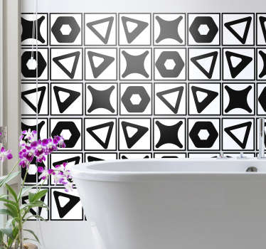 Decorative waterproof tile sticker designed in  geometric shapes.  An ideal decoration for a bathroom or any space in the home.