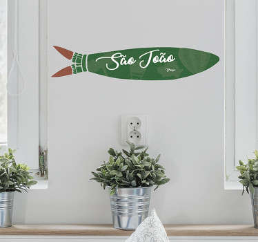 Autocolante de parede fazendo referência às sardinhas da famosa festa, São João. Ideal para colocar em paredes ou vidros.