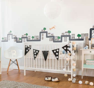 Children. Niceのための装飾的な原子価の都市壁ステッカーは、子供のための寝室スペースの壁の表面にボーダーを作成します。