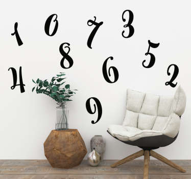 Set of numbers text wall decal with the prints of numbers from 10 to 10. Available in different colours and size options.