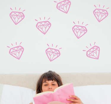Glänsande diamanter vägg klistermärke