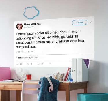Spersonalizowana naklejka na ścianę Tweet