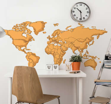 Autocolante mapa mundi com fronteitas