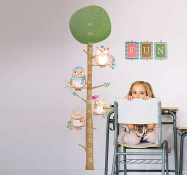 Beautiful height chart meter for children designed as a tree with owls hanging on it branches. It is easy to apply and self adhesive.