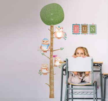 Vinilos para habitaciones infantiles, adhesivos medidor originales con el dibujo de un árbol y varias aves.