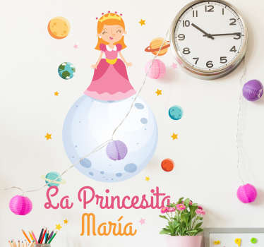 Fairy tale wall sticker for children bedroom designed with a princess and can be customized in any name of choice. Easy to apply