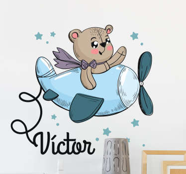 Personlig teddybjørn flyvemaskine klistermærke