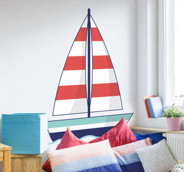 Decorative ornamental boat nautical wall sticker for children bedroom decoration. Easy to apply and available in different sizes.