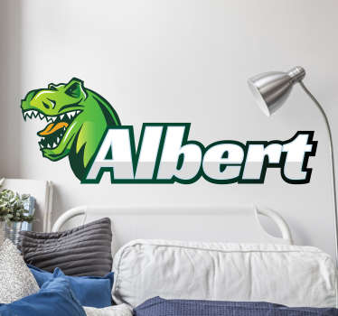 Give your children a special touch in their room with this personalised dinosaur wall sticker.