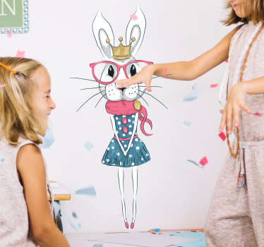 High quality kids wall art sticker with a beautiful cute rabbit with pink glasses on. Perfect as a children sticker to make your rooms colourful!