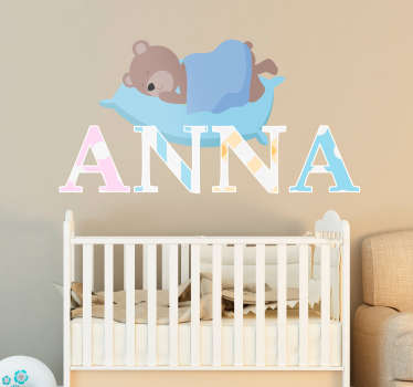 Decorate the childrens' room with this adorable sticker with a bear sleeping on a pillow. You can personalize this wall decal with the name of your child.