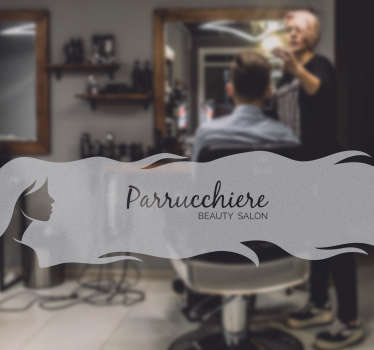 Get people to visit your hair salon with this original sticker. The design exists of a woman with long hair where you can put the name of your salon on.