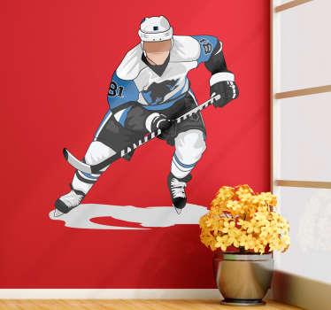 Vauhtiin ponnistava jääkiekkoilija on upea lisä jääkiekko-ihmisen kodin sisustukseen Tämä värikuva luistelevasta jääkiekkoilijasta saa varmasti suomalaisen miehenkin syttymään kodin sisustuksesta Valitse haluamasi koko taulukosta tai kirjoita