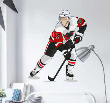 Fantastic hockey player in a red outfit can be your new a teens room wall decal. Quick and easy to apply, no air bubbles or tears.
