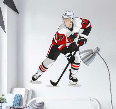 Tyylikäs jääkiekko aiheinen sisustustarra jossa on pelaaja odottamassa syöttöä. Helppo levittää tasaiselle pinnalle. Valitse koko.