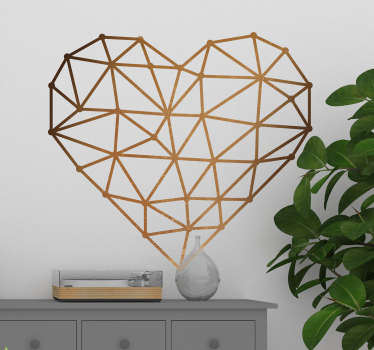 This elegant origami heart will decorate your walls beautifully. This wall decal is a simple heart made out of origami structure.