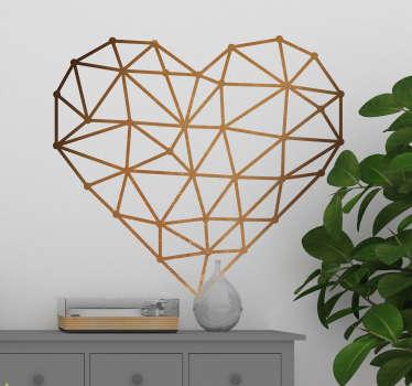 Vinilo decorativo con forma de corazón, perfilado con líneas y un color que simula el tono de una superficie metálica de cobre.