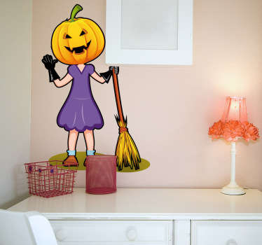 Sticker illustrating a girl dressed for halloween with a pumpkin and a broomstick. Perfect decal to decorate your home for halloween parties.