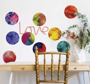 Decorate you walls with this colorful wall decal With this decoration of circles filled with colored smoke you will brighten up any room.