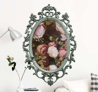 Create a vintage look in your house with this personalized vintage mirror wall decal. This wall sticker can be personalized by your own picture in the middle of the vintage mirror frame.